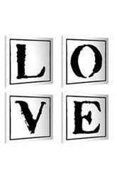 LulusimonSTUDIO 'Love Typography' Canvas Wall Art (Set of 4)