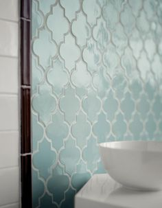 Powder blue tile the shape is to die for )