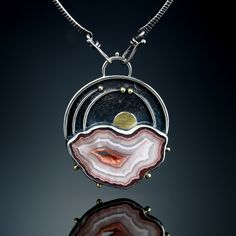 Laguna Agate Centerpiece. Fabricated Sterling Silver and 18k. www.amybuettner.com https://www.facebook.com/pages/Metalsmiths-Amy-Buettner-Tucker-Glasow/101876779907812?ref=hl https://www.etsy.com/people/amybuettner http://instagram.com/amybuettnertuckerglasow