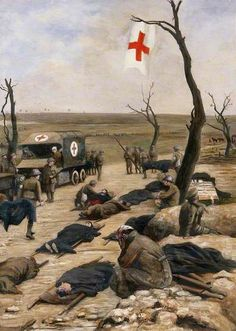 First World War: An Advanced Dressing-Station by the Roadside by Francis James Barraud (1856–1924)