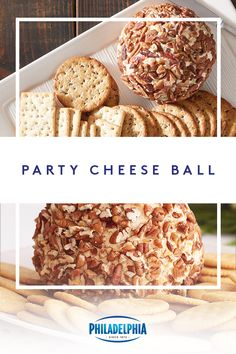 Kick off your next get-together with this Party Cheese Ball. Made with a combination of PHILADELPHIA Cream Cheese and shredded cheddar, this make-ahead spread will disappear long before the game is over. Finger Food Appetizers, Appetizers For Party, Appetizer Recipes, Snack Recipes, Cooking Recipes, Cheese Appetizers, Banana Recipes, Finger Foods, Quick Party Food