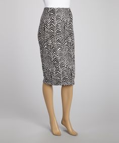 $15, 1 February 2014. Loving this Analogy Black & White Abstract Zigzag Pencil Skirt on #zulily! #zulilyfinds