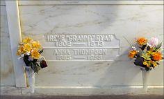 "ACTRESS IRENE RYAN'S GRAVE  ('Granny' on ""The Beverly Hillbillies"")  at Woodlawn Memorial Cemetery  in Santa Monica, California"