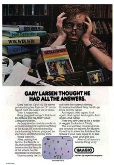 """Gary Larson thought he had all the answers:"" Riddle of the Sphinx by Imagic for the Atari VCS from 1982."