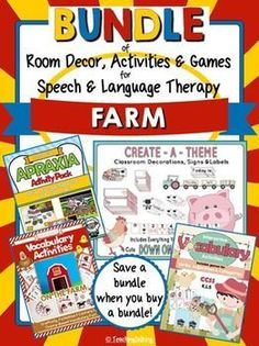 Everything you need for a farm theme speech room! Games, activities, & printable classroom decor!