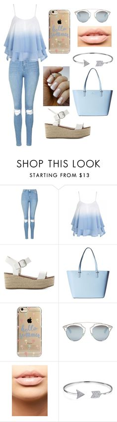 """Pastel Blue Summer"" by kirsty-mckenzie44 ❤ liked on Polyvore featuring Topshop, Steve Madden, Kate Spade, Agent 18, Christian Dior, MDMflow, Bling Jewelry, Summer, soft and pastel"