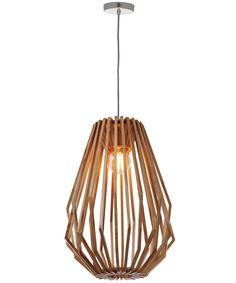 Stockholm 1 Light Tall Flair Pendant in Natural Wood
