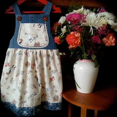 Denim and cotton dungaree dress age 2 and 3 years