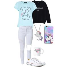 Unicorn 🦄 by band-life-for-me on Polyvore featuring polyvore, fashion, style, New Look, Converse, Artistique and clothing