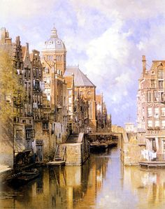 Johannes Christiaan Karel Klinkenberg (1852-1924)  The Oudezijdsvoorburgwal, Amsterdam  Oil on canvas  1919