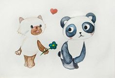 Watercolor #art #panda #cat #etsy
