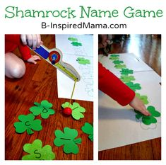 Make a simple shamrock name learning game for your preschooler for St. Patrick's Day! Find out how at B-InspiredMama.com.