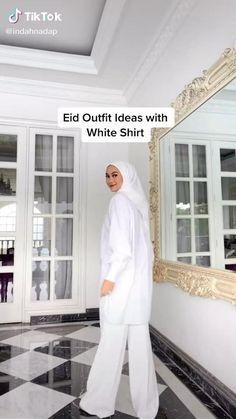 Stylish Hijab, Modest Fashion Hijab, Hijab Style, Smart Casual Outfit, Casual Hijab Outfit, Outfits With Striped Shirts, White Shirt Outfits, Hijab Fashionista, Simple Elegant Dresses