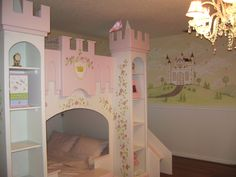 Having a beautiful mural like this in a little girl's bedroom is as soothing as can be, and gives you a feeling like the fantasy world . #murals #kidsrooms #kidsroomdecor http://muralmax.com
