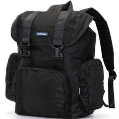 Značka Travel plus doporučuje řadu nových cestovních batohů - dobrá kvalita za nízkou cenu. Porovnejte batohy se značkou TP a na své cesty si vyberte ten správný! Tento velký černý batoh Vás jistě nezklame. Na cesty si můžete přibalit i menší notebook nebo tablet (max. 27 x 31 cm).