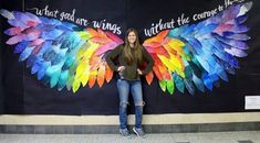 This mural was created by Mrs. Bull's studio art, advanced studio art and drawing and painting students This mural was created by Mrs. Bull's studio art, advanced studio art and drawing and painting students. Art Bulletin Boards, Inspirational Bulletin Boards, Bulletin Board Ideas For Teachers, Butterfly Bulletin Board, Counseling Bulletin Boards, Kindness Bulletin Board, Back To School Bulletin Boards, Theme Nature, School Murals