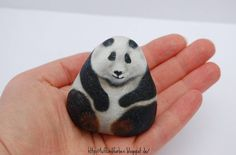 One more... painted rock stone art panda