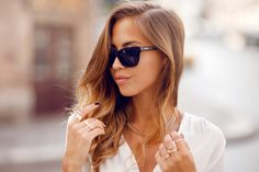 brunette elegant jewelry Swedish blogger classy shirt girl