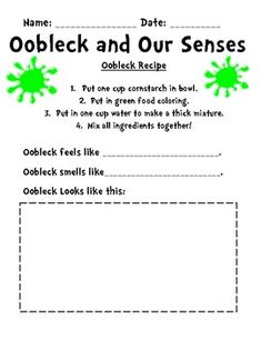 Oobleck Recipe and Writing and Senses Activities