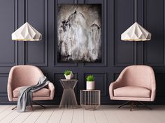 Atmospheric circular painting of a night garden by artist Joanna Charlotte in a modern sitting room featuring dark panelled walls, pink armchairs and contemporary geometric decor accessories. Gold Wall Decor, Modern Wall Decor, Interior Pastel, French Interior, Geometric Decor, Geometric Origami, Geometric Background, Style Deco, Interior Decorating