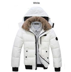 Thick Warm Men Winter Coat 2017 Hot Fashion Jacket Men Parka Leisure Wear High Quality Plus Size Black White Winter Overcoat, Hooded Winter Coat, Mens Winter Coat, Winter Jackets, Hooded Parka, Fur Jackets, Winter Wear, Anorak, Outdoor Wear