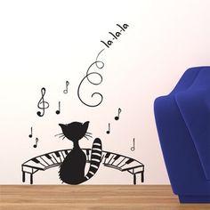 Adesivo de Parede - Gato Pianista - 004ms