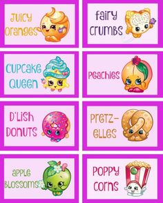 Free printable Shopkins food labels | Mandy's Party Printables