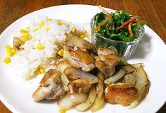 マリネした鶏のソテー、コーンライス
