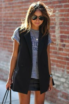 Casual black sleeveless blazer look. new york fashion ray ban sunglasses cyber monday 2015 cheap sale only $14.99 #ray #ban #sunglasses