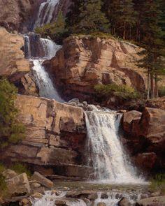 Ralph Oberg, Tangle Creek Falls, oil, 30 x - Southwest Art Magazine Impressionist Landscape, Landscape Art, Landscape Paintings, Landscapes, Waterfall Paintings, Collage Art Mixed Media, Autumn Painting, Southwest Art, Nature Paintings