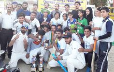 Winners of State Tennis Ball Cricket Championship posing for a group photograph alongwith Member Parliament Nazir Ahmed Laway in Jammu.