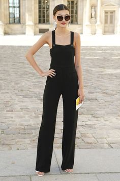 So chic in a classic black jumpsuit. #PFW