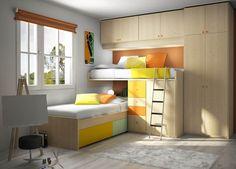 R35 - Juvenil compacto de dos camas con cajones, armarios con puente y biblioteca  - Facil Mobel, fábrica de muebles a medida en barcelona, catálogo de armarios, juveniles, salones, dormitorios matrimoniales y complementos. Ofertas y solicitud de presupuestos.