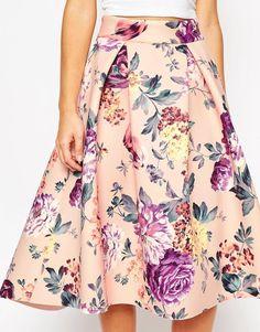 8f1bcdbb26a ASOS Premium Bonded Prom Skirt in Floral Print at asos.com