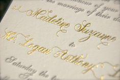 **Gold Foil Monogram and Charcoal Letterpress by DancingPenandPress