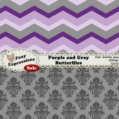 Each digital paper packs (12 sheets) are $1.  See more at www.FoxyExpressions.com Beautiful purple and gray butterfly pack comes in 2 shades of purple and gray. It features polka dots butterflies, chevron, waves, diamonds, and damask.  This pack is great... #sale #foxydesign #foxyexpress