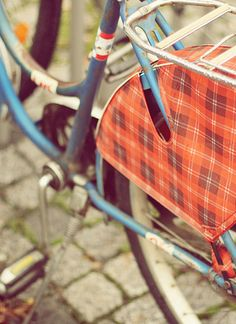 Vintage ride with bicycle skirt guard #bike #chic #plaid