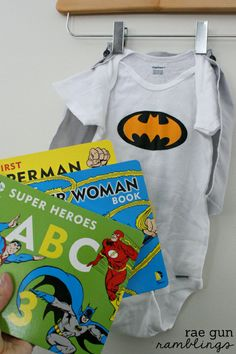 Cute gift idea. Super Hero Board books and removable cape onesie - Rea Gun Ramblings