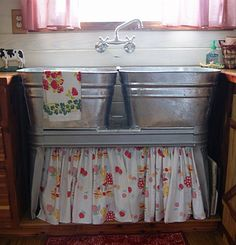Living Tiny With Lee Ann   For a vintage look use galvanized double washtubs for your kitchen sink.
