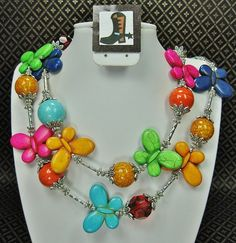 MULTICOLOR HOWLITE BUTTERFLY Statement by CayaCowgirlCreations, $52.50