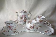 Antique Floral Porcelain Haviland Limoges Tray Tea Set