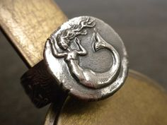 Mermaid Jewelry Silver Ring Wax Seal by Serrelynda on Etsy