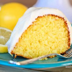 You can whip up this deliciously easy Lemon Bundt Cake in no time. Topped with a lemon cream cheese frosting, this cake is always a hit with friends and family wanting a second slice, and the recipe! Cake Mix Recipes, Pound Cake Recipes, Dessert Recipes, Potluck Desserts, Dessert Ideas, Food Cakes, Cupcake Cakes, Cupcakes, Cupcake Ideas