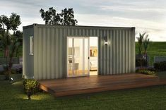 The Downtown consist of one 162 sq ft container home. The beautiful interior is constructed with recycled and sustainable materials and accented with high end finishes. This charming home includes a mini-service bathroom, and big windo Container Homes For Sale, Building A Container Home, Container House Plans, Container House Design, Shipping Container Homes, 20ft Container, Container Office, Container Cabin, Shipping Containers