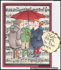 Singing in the rain umbrella stamp