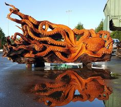Artist Carves Fallen Redwood Tree Into Giant Sea Creature