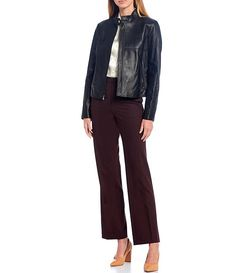 Luxury Collection Rachel Genuine Leather Stand Collar Moto Jacket #Sponsored #Rachel, #advertisement, #Genuine, #Luxury Korean Fashion Casual, Antonio Melani, Moto Jacket, Dillards, Luxury, Leather, Pants, Jackets, Clothes