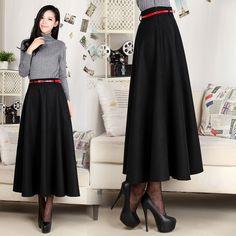 Maxi skirt,black skirt,wool skirt,long skirt, pleated skirt,full ...