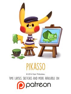 Daily Paint Pikasso by Piper Thibodeau on ArtStation. Cute Animal Drawings Kawaii, Kawaii Drawings, Cute Drawings, Animal Puns, Funny Animals, Cute Animals, Animal Food, Chibi, Cute Pokemon