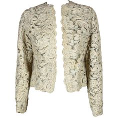 Preowned Christian Dior S/s 1965 Ivory Lace Jacket (10.335 RON) ❤ liked on Polyvore featuring outerwear, jackets, white, white lace jacket, white jacket, ivory jacket, lace jacket and flower print jacket